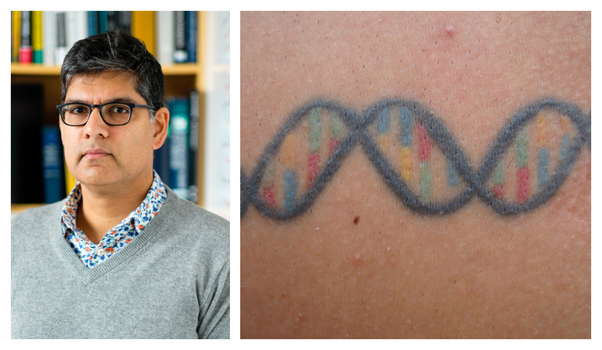 Photo caption of Sandeep Robert Datta's tattoo of a DNA double helix that spells his wife's initials
