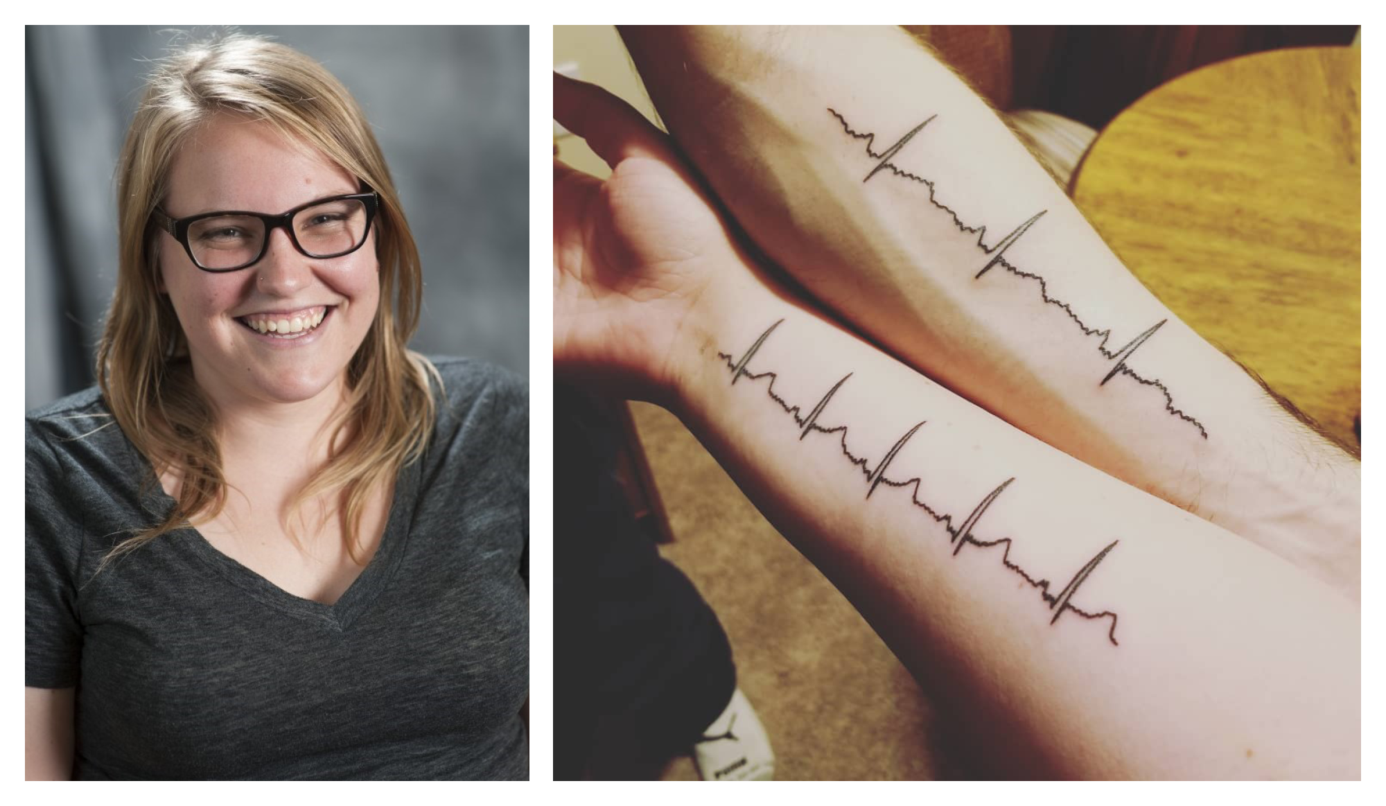 Photo collage of Lauren Kennedy-Metz of her tattoo of her husbands' heartbeat