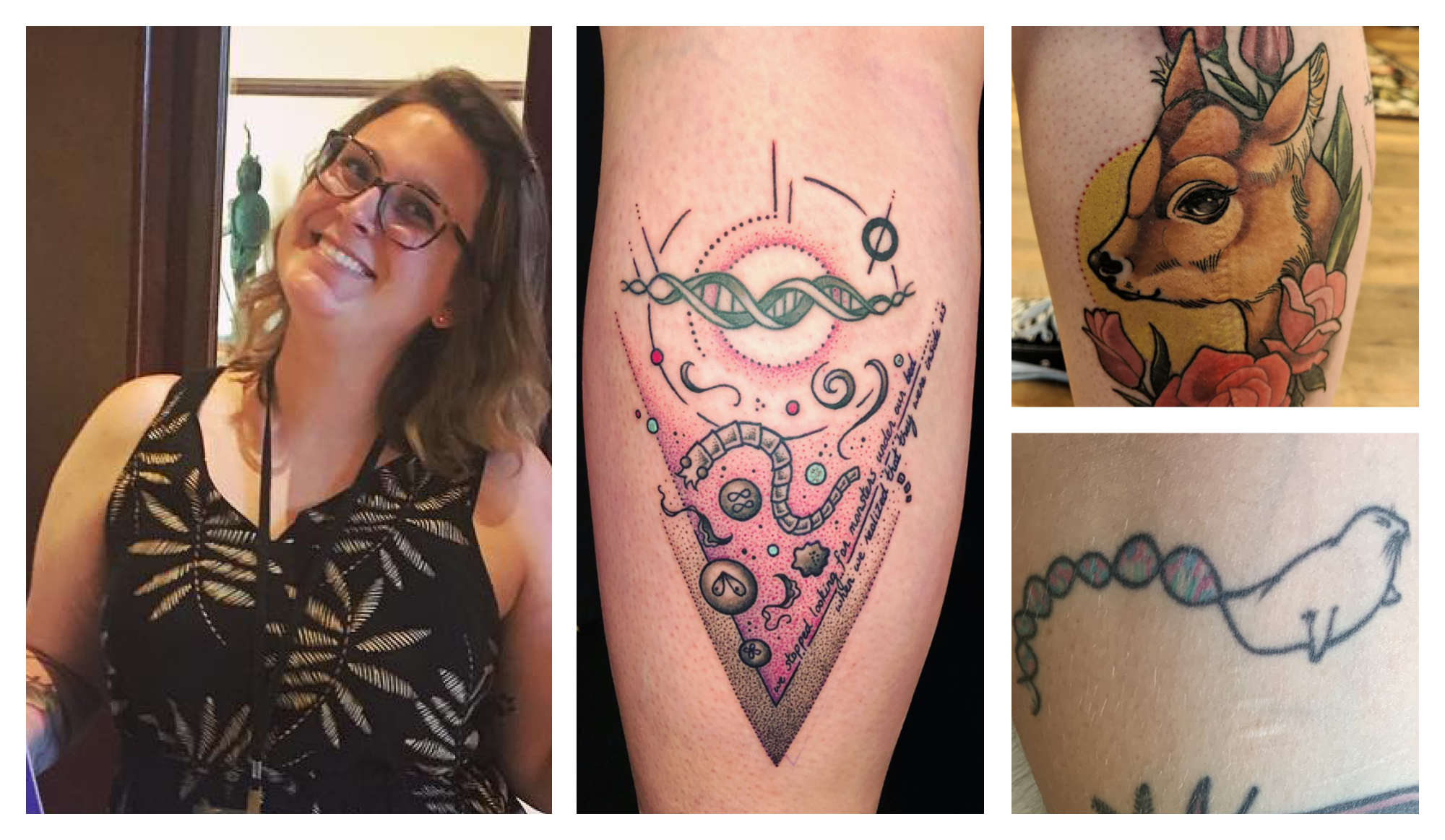 Photo collage of Caroline Keroack and her tattoo's(clockwise): a calf, a seal that turns into a double helix of DNA, and parasites