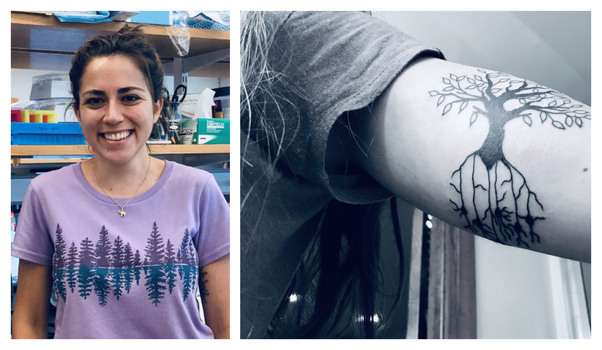 Photo collage of Valentina Lagomarsino and her tattoo of the tree of life