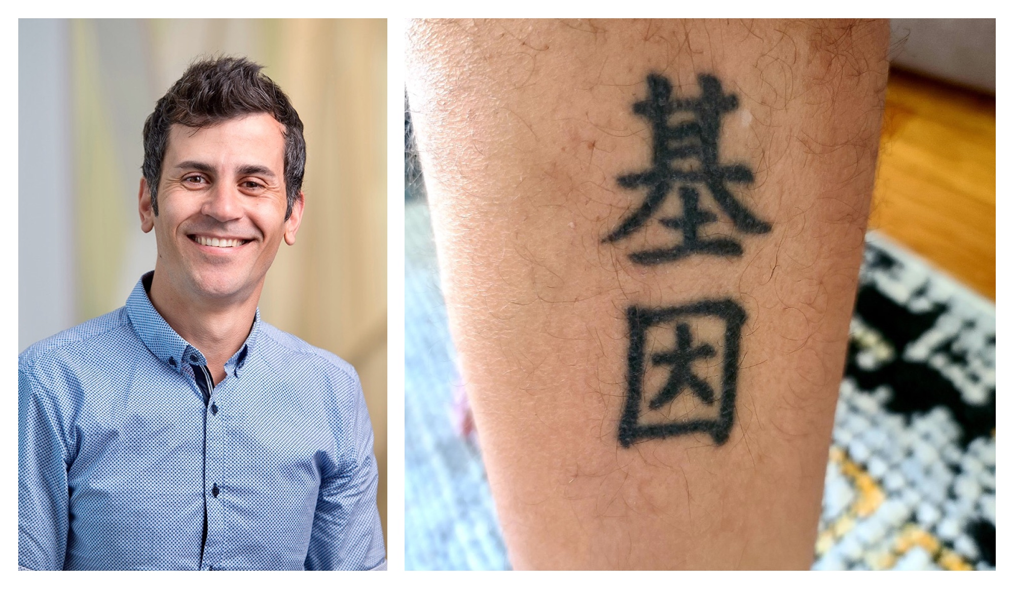 Photo collage of Luciano Martelotto and his tattoo