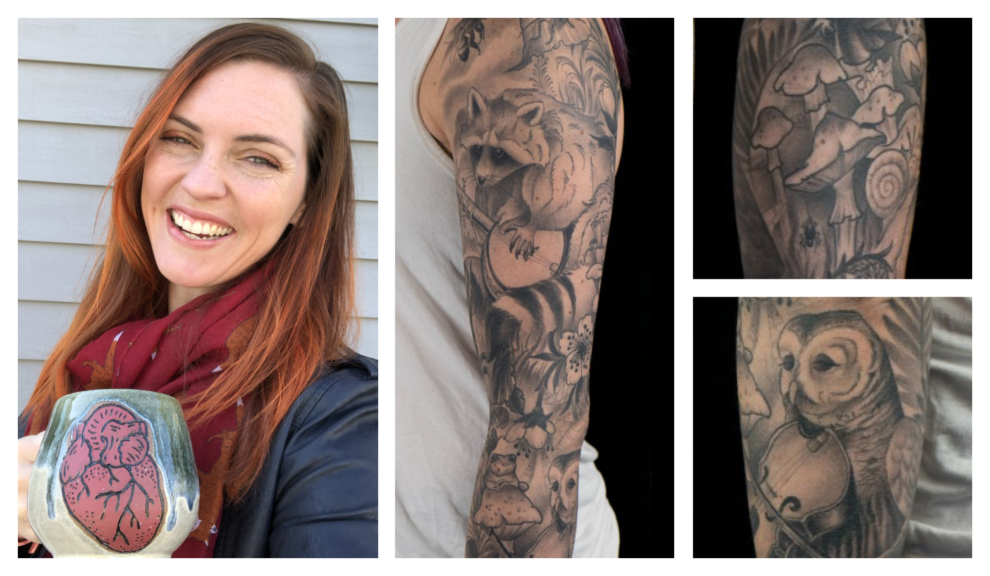 Photo collage of Kimberly McCabe and her tattoo depicting woodland animals playing instruments around a campfire