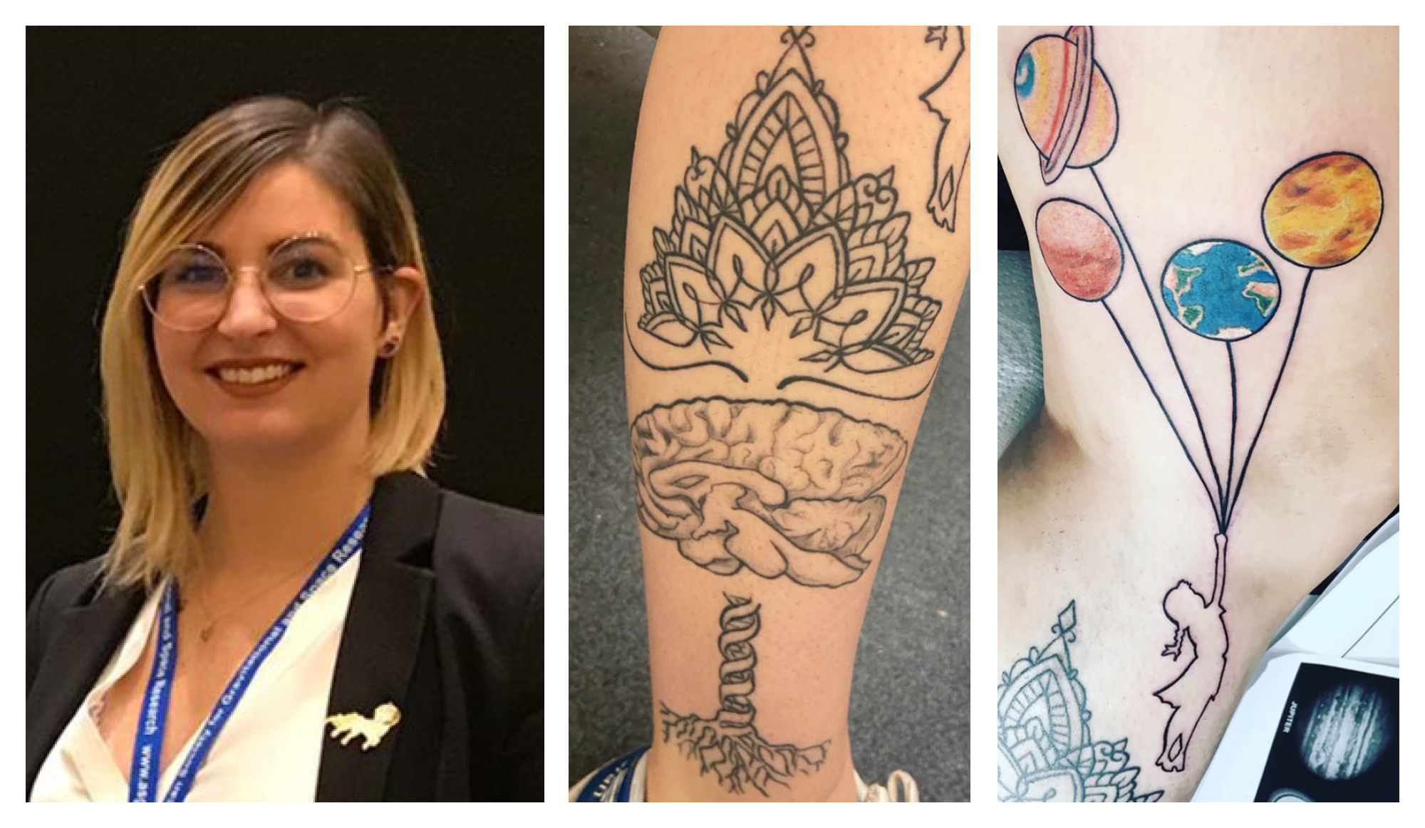 Photo collage of Marie Mortreux's tattoos, one of a mandala on top of a tree of life, and another a stencil of a girl holding up planets