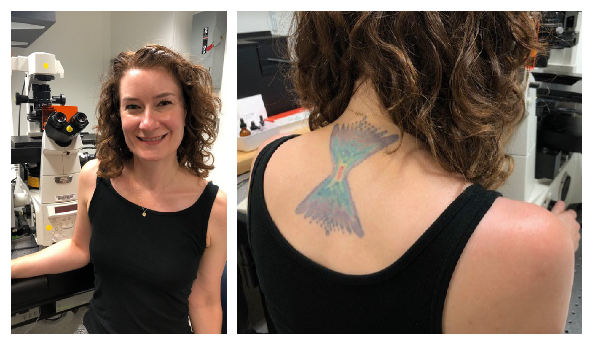 Photo collage of Jennifer Waters and her tattoo depicting point spread function in blues and purples