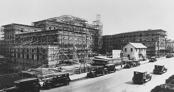The building of the Harvard Medical School in the farmlands outside Boston at the Longwood campus (circa 1924)