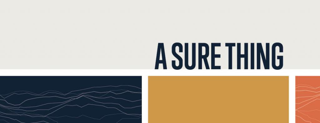 Graphic banner that says A Sure Thing with a long gray block and a navy, golden orange and orange block below.