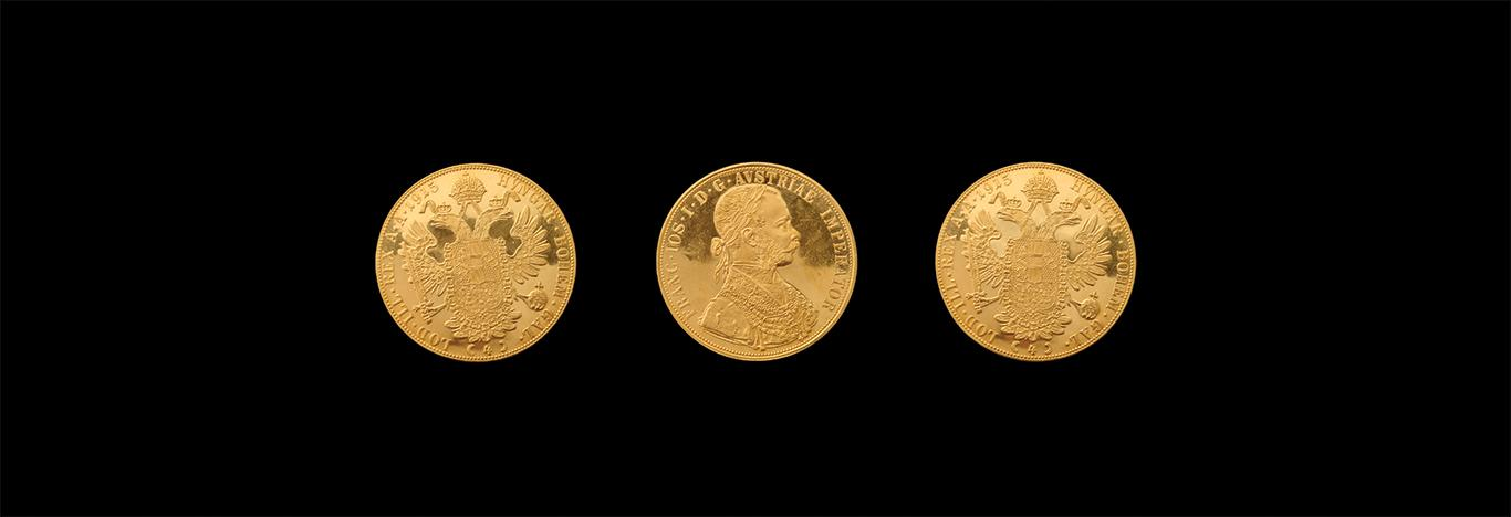 three gold coins, Austrian ducats circa WWI