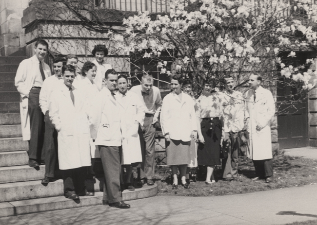 TEAM EFFORT: Nan (front row, third from left) stands next to Fuller Albright (fourth from left) in this 1954 photo of members of the Albright endocrine lab.