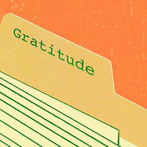 detail of illustration showing Gratitude on manila folder tab