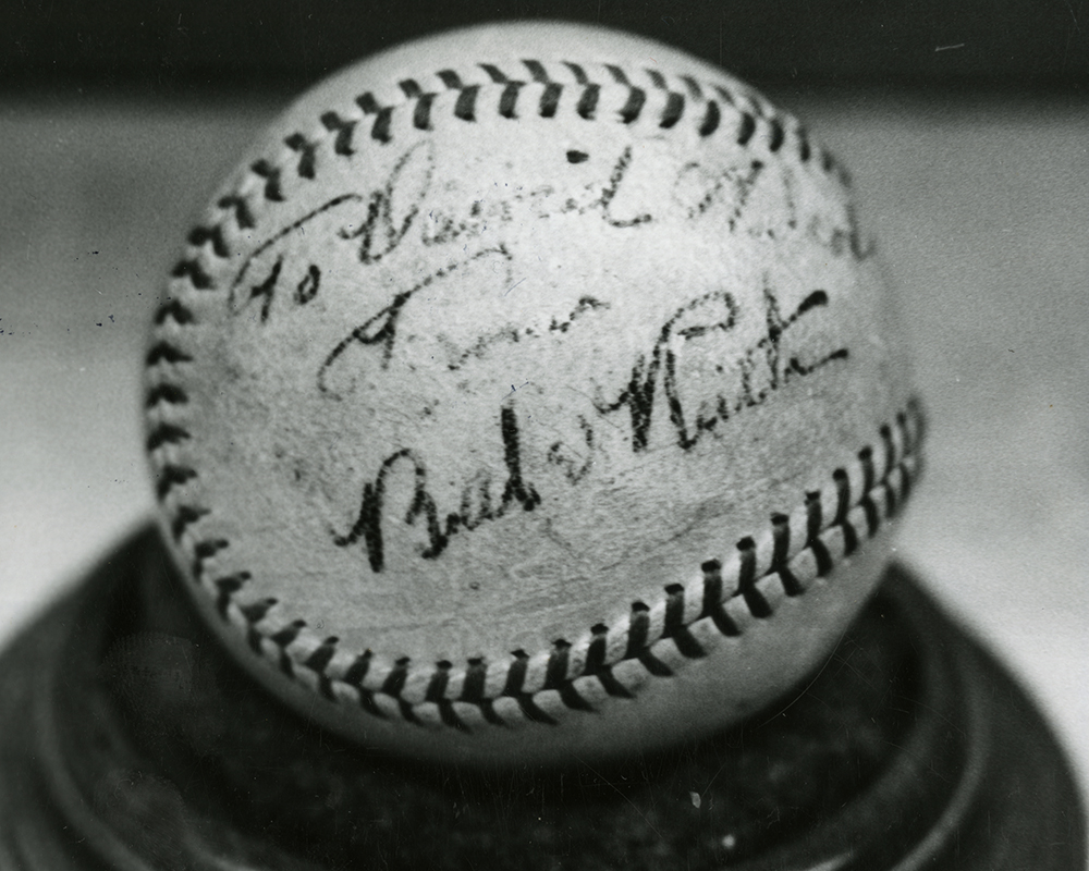 photo of a baseball with signature of Babe Ruth