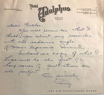 "handwritten letter from Baird to Fuller Albright asking Albright his thoughts on the manuscript on the role of hormones in ""manic depressive insanity."""