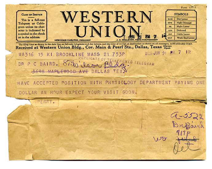 Yellowed, torn, Western Union telegram, 1926, in which Baird tells his father of his job in HMS pathology lab
