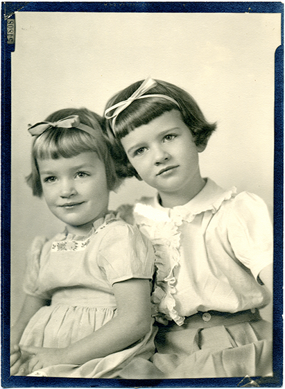 formal portrait of Barid daughters Kitsy and Mimi