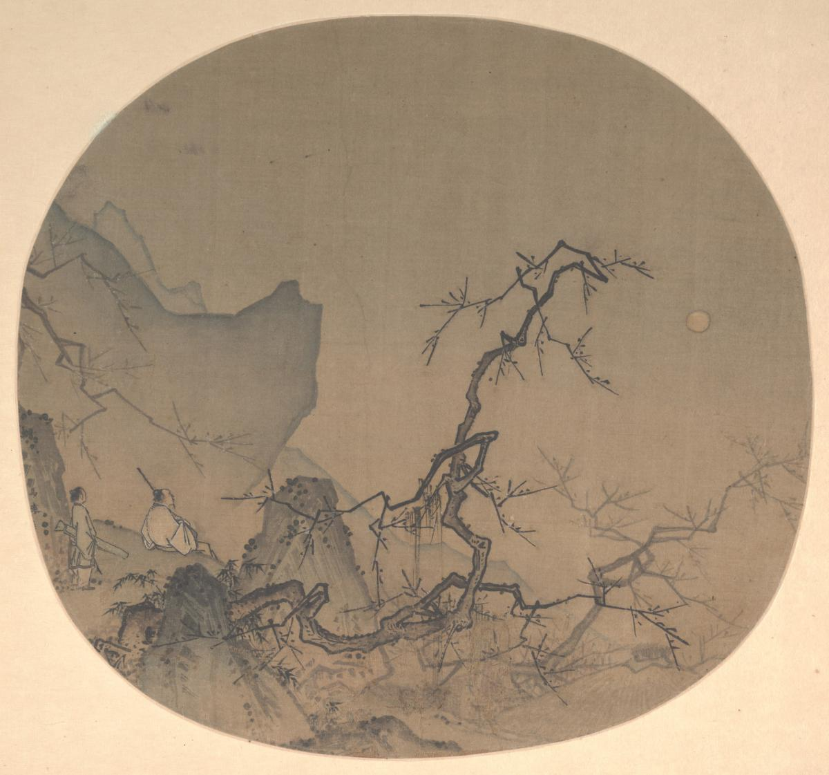 Ma Yuan, Viewing Plum Blossoms by Moonlight, Southern Song dynasty (1127-1279), 9 7/8 x 12 1/2 in., fan mounted as an album leaf; ink and color on silk