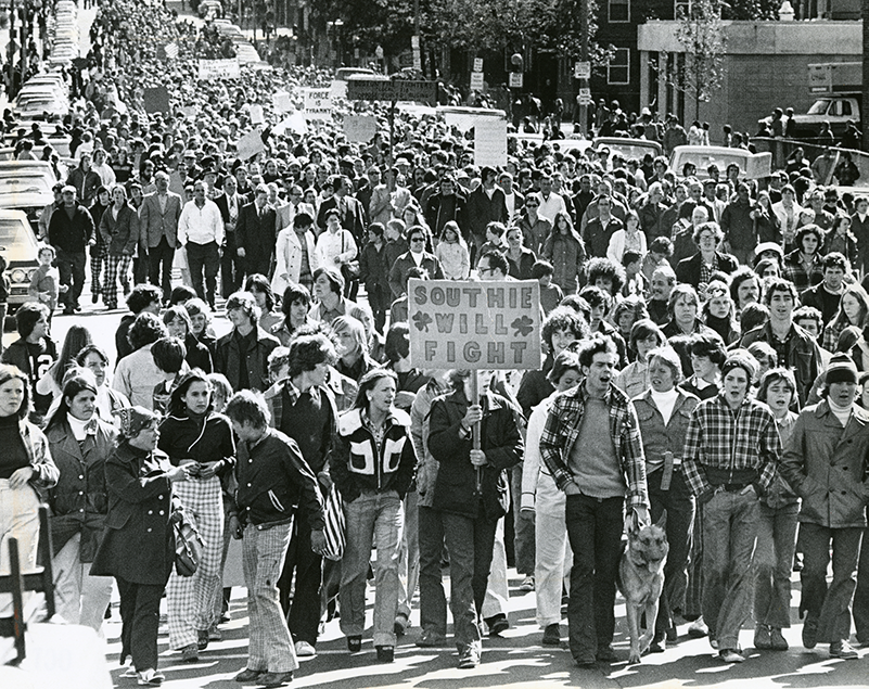 Boston Globe photo of mid-1970s march protesting integration of the city's public schools