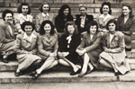 The first class of women admitted at Harvard Medical School in 1945.