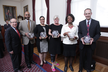 HSDM Dean Bruce Donoff with 2012-2013 Diversity Award honorees (from left): Romesh Nalliah, Nicte Mejia, Catherine Lane, Valerie Ward and Christopher AhnAllen. Image: Jeff Thiebauth