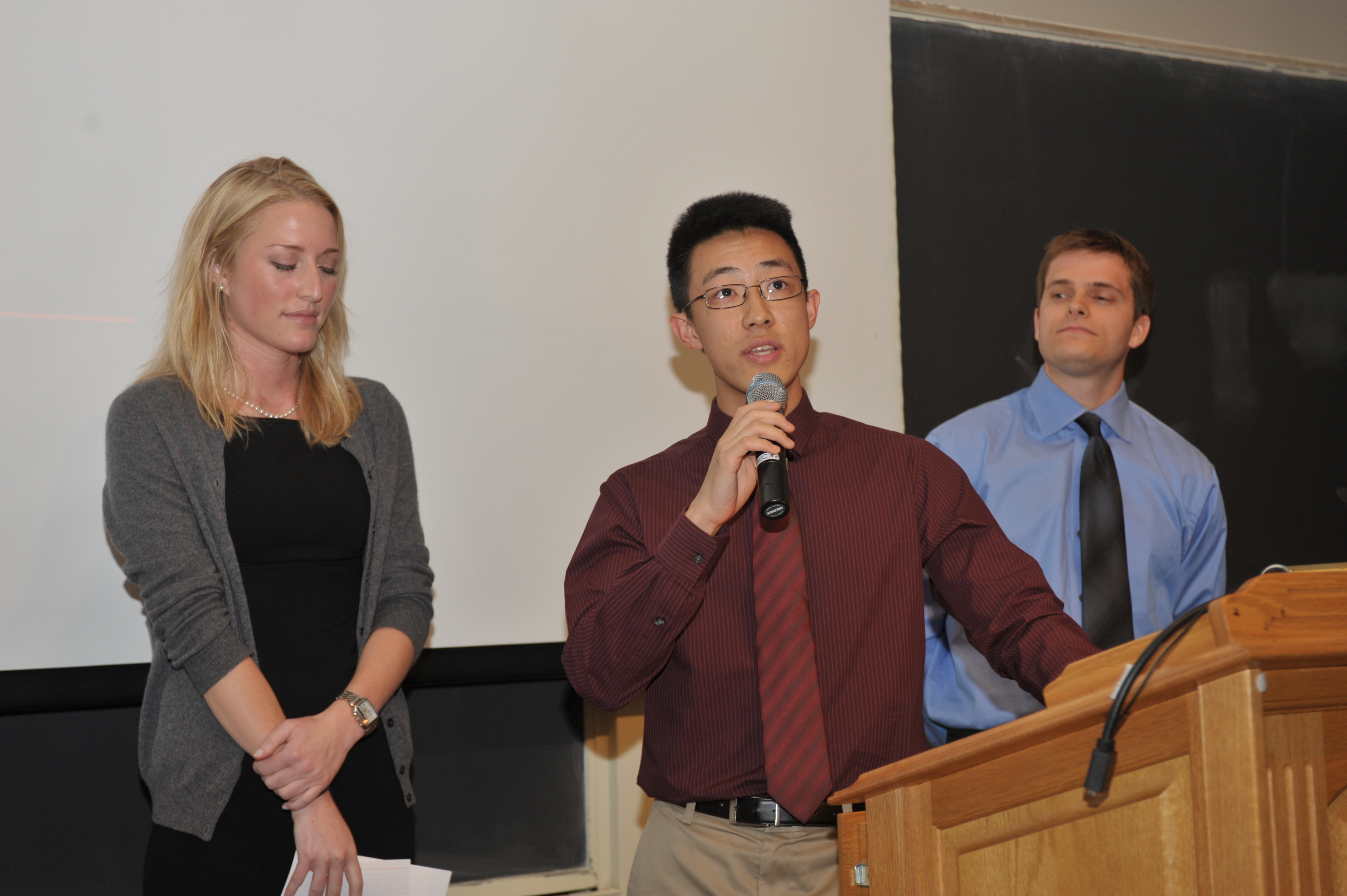 Charles Liu '15 giving introductory remarks with Morgan Freret '15 and Andrew Stamm '15. The voice of the students who nominated teachers were heard by the selection committees. Photo by Steve Gilbert.