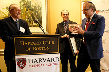 Left to right: HMS Dean George Q. Daley, AB '82, MD '91, PhD, celebrates with Mandl and Kohane, the professorship's future namesake.