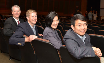 R. Pepper Murray, MD '86, (far left) helped secure $110,000 in current-use scholarship support by encouraging classmates to name chairs in honor of Reunion. 1986 classmates (pictured left to right) Frank Voss, MD, Ming Hui Chen, MD, and Benjamin Chang, MD.