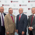 Adam Chafetz, Morris Chafetz's son and president of Training for Intervention ProcedureS; Shaffer; Ralph Blackman, president and CEO of FAAR; and Patrick Wardell, CEO of CHA, celebrate the first professorship established specifically for the benefit of faculty researchers at HMS and clinicians at HMS-affiliated CHA