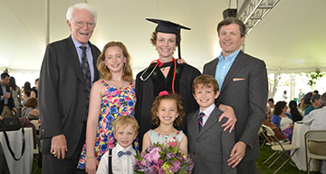 Peter Lynch, pictured with his daughter Mary Lynch Witkowski, AB '96, MBA '01, MD '16, her husband, Erik Witkowski, AB '94, MBA '07, and their four children, who are committed to supporting education and health care through the Lynch Foundation