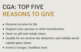 CGA Top Five Reasons to Give
