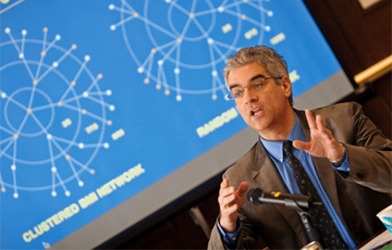 MATCHMAKER: Nicholas Christakis looks at how social networks affect people's lives.<br/><br/>Photo by Dominick Reuter/Harvard University News Office