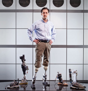 MARVELS OF ENGINEERING: After severe frostbite in a mountaineering mishap led to amputations when he was a teen, Hugh Herr became interested in prosthetic engineering. He is now the holder or co-holder of more than a dozen patents related to assistive devices, including those for a computer-controlled artificial knee, an ankle–foot orthosis, and the world's first powered ankle–foot prosthesis. <br/>Photo by Photo by Shawn G. Henry