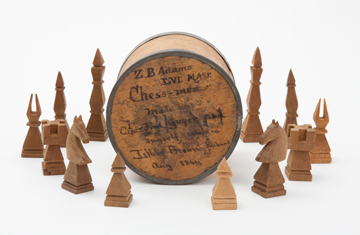 THERAPEUTIC GAMBIT: This chess set was carved by Zabdiel Boylston Adams, Class of 1853, and fellow prisoner Fred Guyer during their internment at Libby Prison and their convalescence in a hospital in Lynchburg, Virginia. Both were captains in the Union army, and were injured and captured at the Battle of the Wilderness in May 1864.<br/>Courtesy of the Warren Anatomical Museum at the Francis A. Countway Library of Medicine. Photo: John Soares