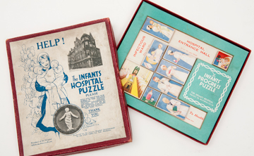 FUN AND GAMES: The Infants Hospital Puzzle was distributed in 1920. Gift of William H. Helfand, Jr., to the Harvard Medical Library. Photo: John Soares