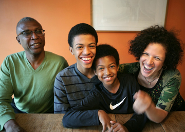 BEHIND THE SCENES: The creative team, and family, behind the film <i>American Promise</i> (from left): Joe Brewster, Idris Brewster,  Miles Brewster, and Michèle Stephenson.<br/>Photo: Orrie King