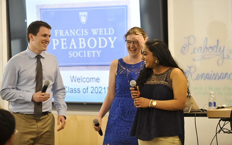 Peabody Society students Spencer Luster, Katherine Kester and Hema Pingali introduce themselves to their classmates.