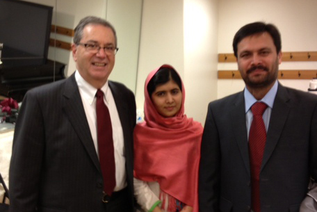 From left: Jeffrey S. Flier, Malala Yousafzai, Dr. Junaid Kahn