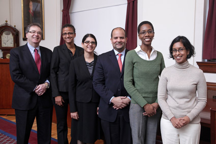 Dean Jeffrey S. Flier (from left) with the 2011 fellows: Patricia Sylla, Sarosh Rana, Aaron Styer, Mary Townsend, and Sudha Biddinger.