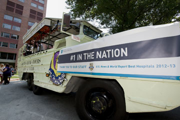 MGH celebrated its No. 1 in the nation hospital ranking with a duck boat parade.  Photo by Emily Lemiska/MGH