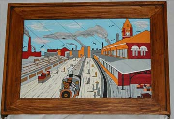 An example of some of the art displayed at the exhibition. 'Train Station' by Michael Purcell, VA Medical Center, Cincinnati, Ohio. Photo courtesy U.S. Dept. Veterans Affairs