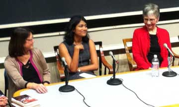 Panel participants, from left: Lisa Wong MD (MGH), violinist; Samyukta Mullangi (MS III), writer; Linda H. Davis, author
