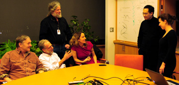 From left: Senior authors Cliff Tabin, Dan Lieberman, Bruce Morgan and Pardis Sabeti talk with first authors Sijia Wang and Yana Kamberov. Sabeti Lab photo.