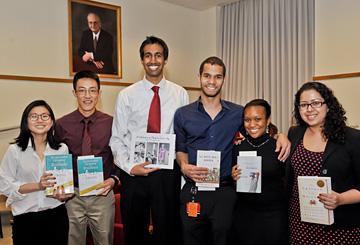 Student prize winners (from left): Min Wu, Charles Liu, Vinayak Muralidhar, Wilfredo Matias, Nicole Jackson and Neha Deshpande