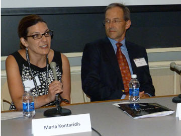 From left, Maria Kontaridis, an HMS assistant professor of medicine at Beth Israel Deaconess Medical Center,  and Daniel Deschler, an HMS professor of otology and laryngology at Mass Eye and Ear,  on a panel at a recent faculty orientation.  Image: Laurie O'Connor