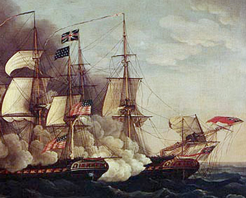Combat between USS Constitution and HMS Guerriere. Image: Michel Felice Corne