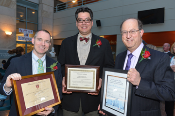 From left, Graham McMahon, Fidencio Saldana, James Kirshenbaum were also honored for teaching excellence at the Daniel D. Federman Teaching Awards Ceremony at HMS on May 6, 2013. Image: Steve Gilbert