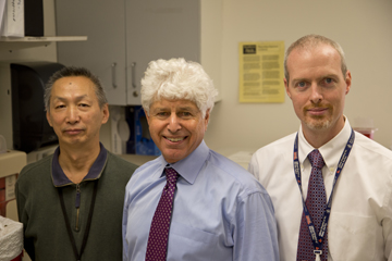(from left): Ningshan Wang, Roy Freeman and Christopher Gibbons. Image: James Dwyer, Beth Israel Deaconess Media Services
