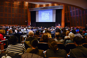 """Ebola and the Future of Global Health Equity,"" a talk by Paul Farmer. Image: Rick Groleau"