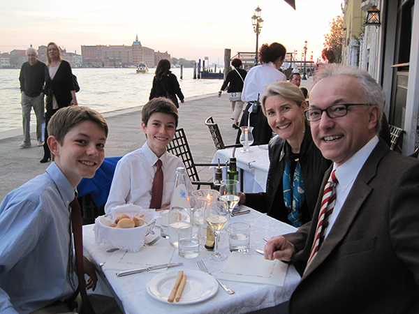The Daley family enjoys an evening of fine dining at La Calcina, Venice