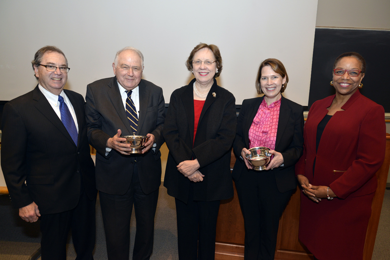 HMS Dean Jeffrey S. Flier with Ronald Arky, the Harvard Medical School Daniel D. Federman, M.D. Distinguished Professor of Medicine and Medical Education, Barbara McNeil, the HMS Ridley Watts Professor of Health Care Policy, Anne Becker, the HMS Maude and Lillian Presley Professor of Global Health and Social Medicine, and Joan Reede, HMS dean for diversity and community partnership celebrate the inaugural Barbara J. McNeil Faculty Award for Exceptional Service. Image: Steve Gilbert