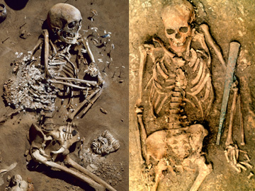 Left: Double burial of an adult female and young boy from the Late Neolithic Corded Ware culture at Karsdorf, Germany. Image: Juraj Lipták, LDA Sachsen-Anhalt. Right: Burial of a male associated with the Yamnaya culture at Kutuluk 1, near Samara, Russia. Image: Pavel Kuznetsov