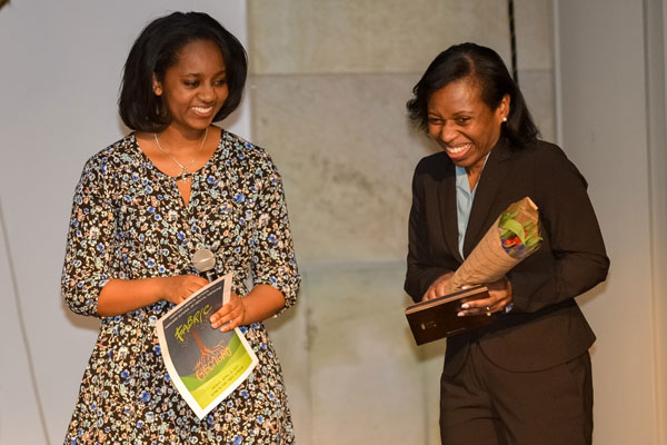 Rhonda Bentley-Lewis (right) received the 2017 Fabric Faculty Award for diversity.