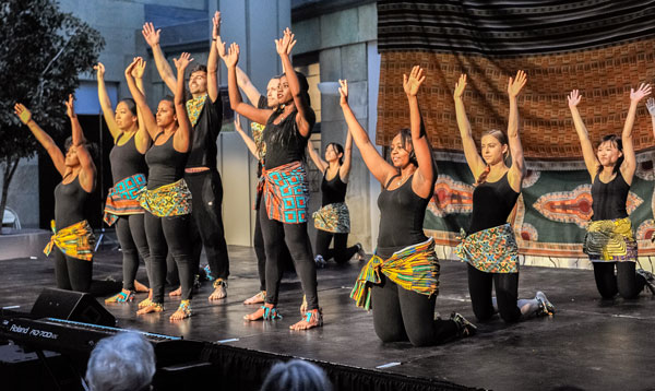 """Students perform """"Beauty Before the Fall,"""" an African dance choreographed by Sloane Mebane."""